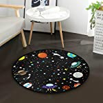 "AMONKA Cartoon Rocket Spaceship Planets Star Kids Round Rug Baby Crawling Non-Slip Mats Child Activity Play Mat For Bedroom Playroom Home Decor (Diameter 36.2"")"