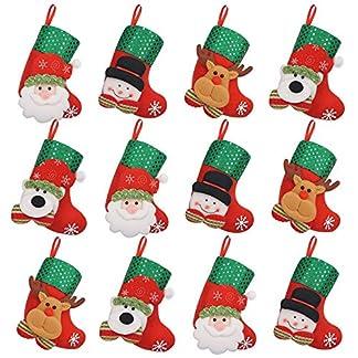iZoeL 12pequeño de Calcetines de Navidad Botas de Navidad para Rellenar Colgar Botas de Navidad Navidad Decoración Cubiertos Árbol de Navidad Joyas Mesa Decorativa con diseño navideño