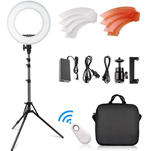 FOSITAN 14-Zoll/ 36cm Äußere LED Ringlicht Set, 42W 5500K 180 LED dimmbare Kamera Foto Video-Beleuchtung-Kit, 2M einstellbarer Lichtstand, Bluetooth-Empfänger für Smartphone Youtube Video Shooting