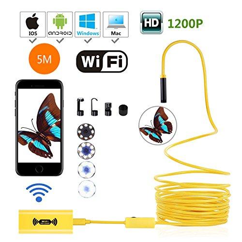 WiFi Endoskop, USB Endoskop Inspektionskamera, 2.0Megapixel CMOS 1200P HD Schlange Kamera mit 8mm Durchmesser, 8verstellbaren LED-Lichter, wasserdicht IP68Für Android, iOS Smartphone, Windows, Mac