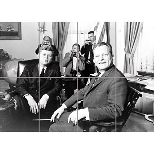 Doppelganger33 LTD VintageB&W History JFK Kennedy Mayor Willy Brandt Berlin Wand Kunst Multi Panel Poster drucken 47×33 Zoll