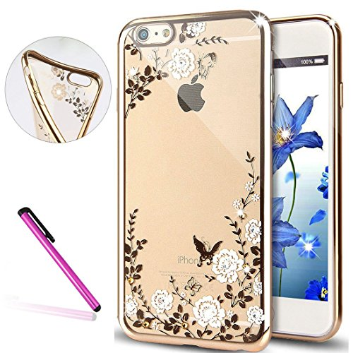 iPhone 6S Plus Silicone Coque,iPhone 6S Plus (Not Pour iPhone 6S/6 4.7 Pouce)Bling Diamant Coque en Silicone Coque Clair,EMAXELERS iPhone 6 Plus / 6S Plus Silicone Case Silver Slim Soft Gel Cover with Butterfly Flower Series 3