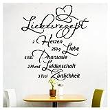 Grandora Wandtattoo Spruch Liebesrezept I schwarz (BxH) 58 x 64 cm I Küche Esszimmer selbstklebend Aufkleber Wandaufkleber Wandsticker Sticker Tattoo W766