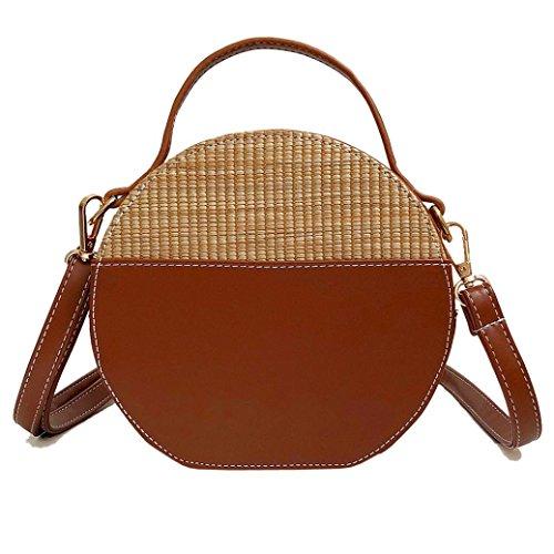 Silber Runde Handtasche (OYSOHE Damen Schultertasche,Vintage Einfache Weave Runde Tote Crossbody Taschen Handtaschen by)