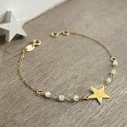 Bracelet Personnalisé Petite Étoile en Or avec des Pierres de Lune, bracelet étoile, cadeau d'anniversaire