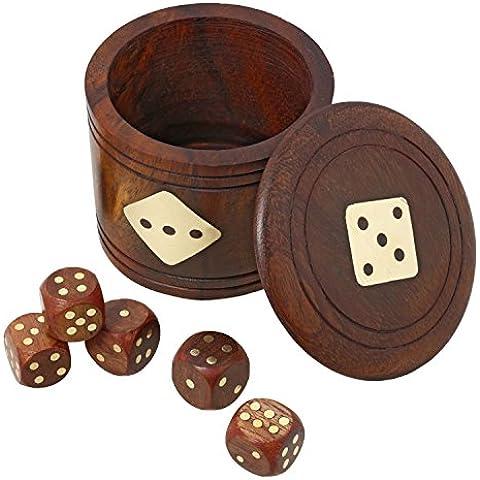 Dadi artigianali e set tazza di dialogo - giocattoli di legno fatti a mano e giochi per famiglie - Dadi impostato con la tazza di 6,35 x 7,62 x 7,62 cm