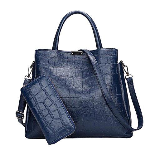 Europa Und Die Vereinigten Staaten Stil Handtasche Messenger Bag Stein Muster Wilden Kind Zwei Sätze Von Schultertasche Blue