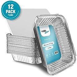 Grandes barquettes jetables en aluminium pour la cuisson au four, plateaux de cuisson, congélation et le stockage de 9 pouces x 9 pouces avec couvercles (Lot de 12)