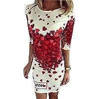 hibote Femmes Summer Dress 3/4 Manches Décolleté Asymétrique Floral Imprimer Mini Robe/ Filles Déguisements/ Robe Femmes Parti S-5Xl