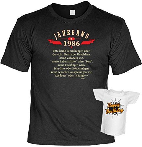 Jahrgangs-Geburtstags-Fun-Shirt-Set inkl. Mini-Shirt/Flaschendeko: Jahrgang 1986 - geniales Geschenk Schwarz