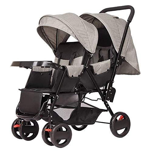 WENYAO Kann sitzen liegend Zwillinge Kinderwagen leichte Kinderwagen Klapp Travel System Zwei Babys doppelten Kinderwagen Warenkorb Buggy Kinderwagen für Alter 6-12 Monate, 1-3 Jahre alt, d