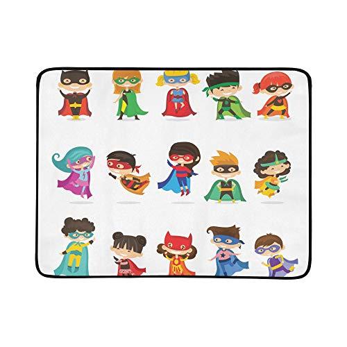 SHAOKAO Nette Superheld Kinder Muster Tragbare Und Faltbare Deckenmatte 60x78 Zoll Handliche Matte Für Camping Picknick Strand Indoor Outdoor Reise
