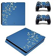 Pandaren completos placas frontales adhesivo para la consola PS4 SLIM y controlador x 2 (símbolo PS)[Instrucción en las listas de imágenes]