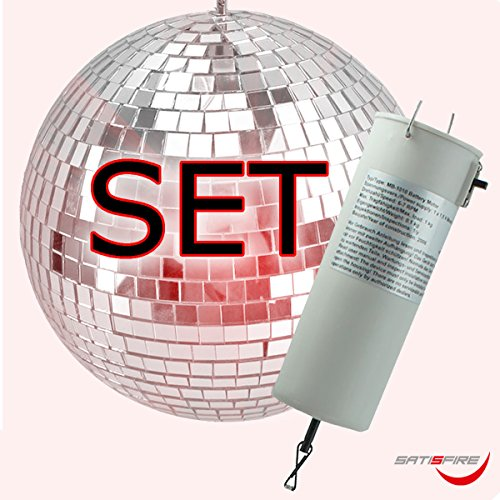 Spiegelkugel Set 20cm, Batteriemotor - Qualitäts Discokugel 10x10mm Spiegel + Motor
