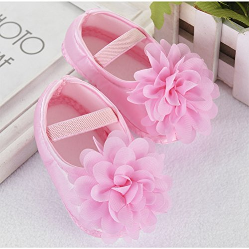 Zhhlinyuan Cute Girls Baby Soft Sole Shoes Toddler Silk Crib Shoes Princess shoes Pink&Floral