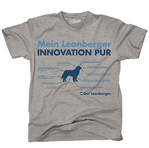 Siviwonder Unisex T-Shirt INNOVATION LEONBERGER TEILE LISTE Hunde lustig fun Sports Grey