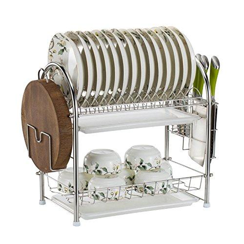 2-tier cucina in acciaio inox regolabile piatto scarico piatto portapacchi mensola organizzazione con vassoio raccogligocce, scomparti laterali estraibili per utensili, posate, portapiatti, sopra la mensola lavello kitchen storage