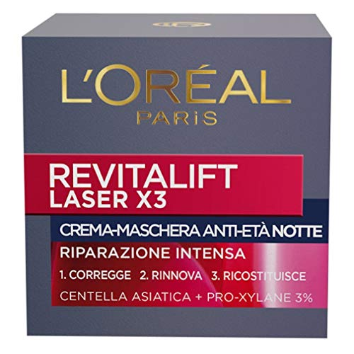L'Oréal Paris Revitalift Laser X3 Crema Viso Antirughe Anti-Età con Acido Ialuronico e Pro-Xylane di Notte, 50 ml