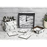 Designer Wooden Tissue Holder Cutlery Stand And Coaster Set Of 6 Pieces With Stand | For Dining Table, Home & Kitchen | Marble Design With Special Enamel Coating - Total Set Of 9 Pieces