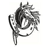 Cosanter Wandaufkleber Wandtattoo Pferd mit Pferde Hufeisen für Wohnzimmer 58cm x 43cm