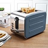 Bestting 2 Slice Retro Toaster • 2 Slots • Automatische Einstellung • 800 W • Abtauung • Auftauen und Aufwärmen • Edelstahl • Abnehmbarer Krümelbehälter • Vierfarbig, gray high quality
