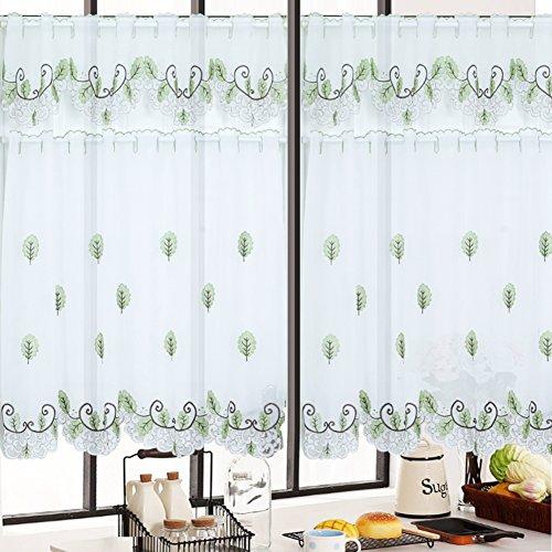 Gardine aus voile, Idyllischen Stickerei Vorhang Aus stoff Vorhänge Tür-jalousien Für Küche Schlafzimmer Schrank-A 55
