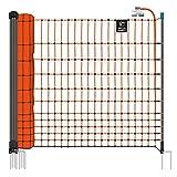 VOSS.farming Hühnerzaun Classic 25m 112cm Geflügelzaun Elektrozaun 9 Pfähle 2 Spitzen orange | Hundezaun Katzenzaun | für Welpen oder Küken geeignet