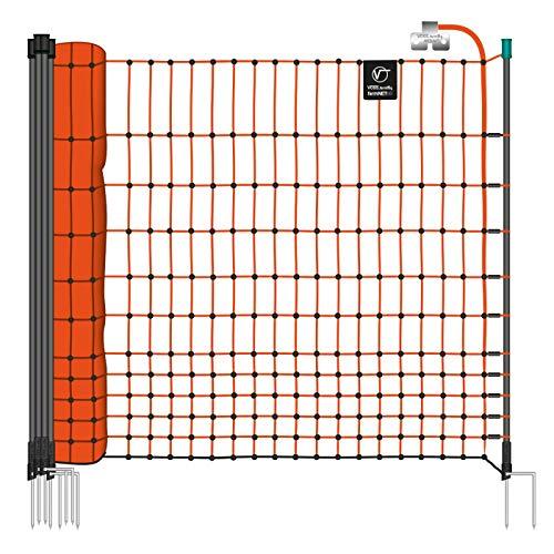 VOSS.farming Premium Schafnetz farmNET 90cm / 108cm / 112cm | 50m / 25m | 14 Pfähle / 9 Pfähle | Schafzaun | Ziegennetz | Elektronetz | Agilitynetz