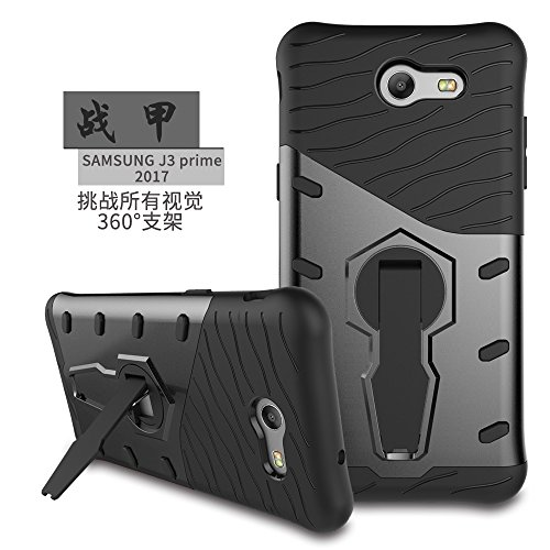 YHUISEN Galaxy J3 2017 Case, Hybrid Tough Rugged Dual Layer Rüstung Schild Schützende Shockproof mit 360 Grad Einstellung Kickstand Case Cover für Samsung Galaxy J3 2017 J320 ( Color : Gold ) Black
