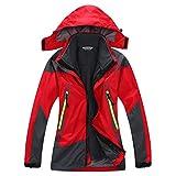 SYRINX Kinder 3 in 1 Wasserdicht Atmungsaktiv Outdoor Camping Wandern Jacke Winddicht Kapuze Mantel mit Fleecejacke (Medium, Rot)