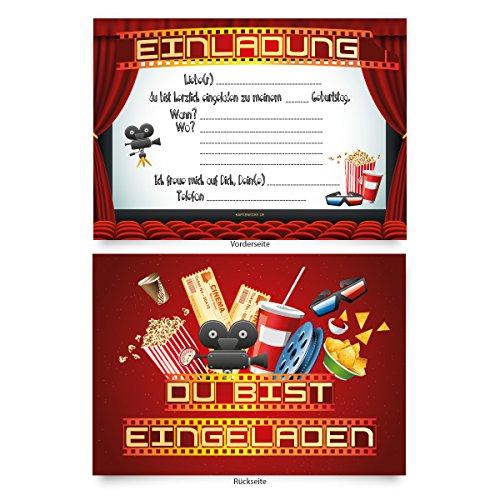 """Einladungskarten (8 Stück) zum Selbstausfüllen für Kindergeburtstag - \""""Kino Film\"""""""