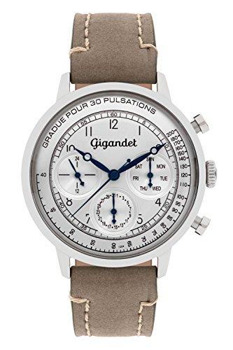 Gigandet G45-002 - Reloj para hombres, correa de cuero color gris