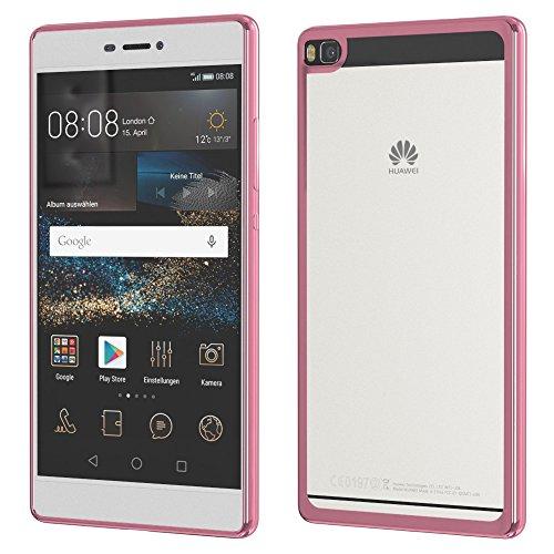 Huawei P9 Hülle, EAZY CASE Chrom Cover Handyhülle - Schutzhülle aus Silikon in Metallic Silber Pink Chrome