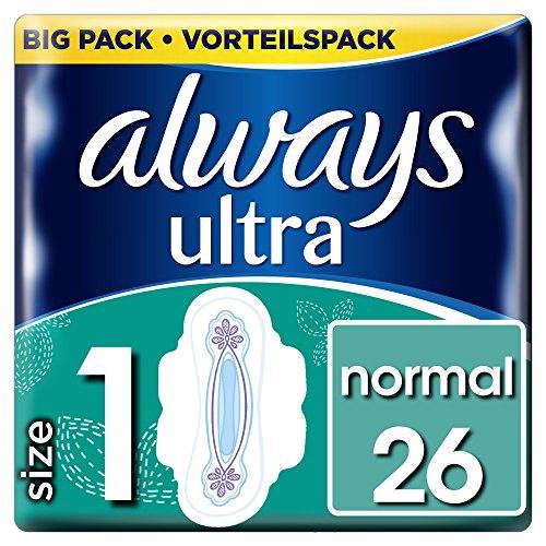 Always Ultra Normal Binden (Größe1) Mit Flügeln, 4er Pack (4 x 26 Stück)