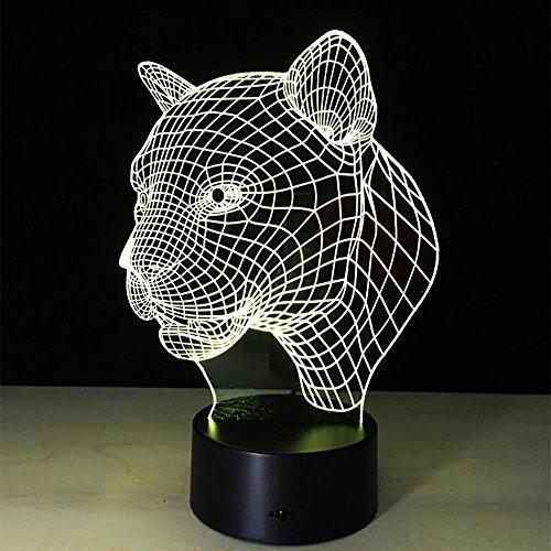 LPY-Leopard Head 3D Home Touch Tischlampe Bunte Kunst Dekor USB LED Kinder Schreibtisch Nachtlicht