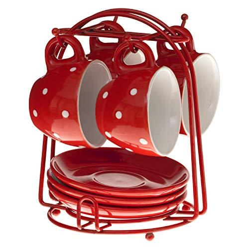 SECRET DE GOURMET Set aus 4 Tassen Unterteller mit Ständer (Rot)
