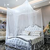 Genmine® Moskitonetz betthimmel Mückenschutz mit 4 Öffnungen, 4 Eckpfosten-Bett-Baldachin , Insektennetz für Doppelbett, 190 x 210 x 240 cm