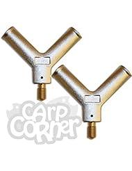 """2x métal V Écarteurs Bloc compatible avec 36 """" 42 """" 50 """" épuisette FILETS POUR CARPE BROCHET Pêche"""