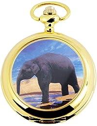 Tavo Lino Analog Reloj de bolsillo con cadena de metal y diseño elefante África Elephan 480702000044Oro Coloreado Carcasa en tamaño 47mm x 15mm con esfera de color blanco y cristal mineral.