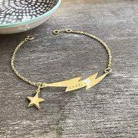 Pulsera de Oro Personalizada con Relámpago, pulsera de relámpago, joyería celeste, regalo de aniversario, regalo de cumpleaños