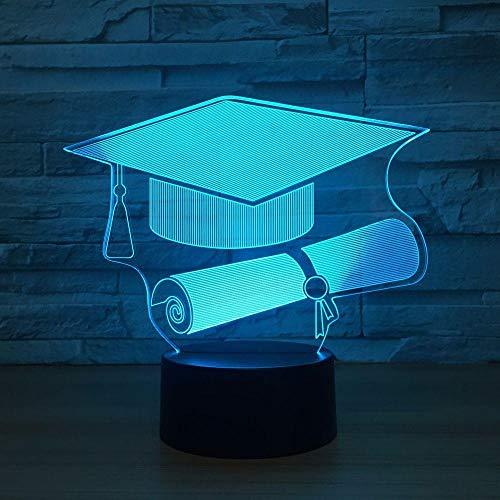 CYJQT Berührungsschalter Doctor Cap 3D Lampe Led Nachtlicht 7 Farbwechsel Usb Schreibtischlampe Memorial Doktorand, 7 Farbwechsel -