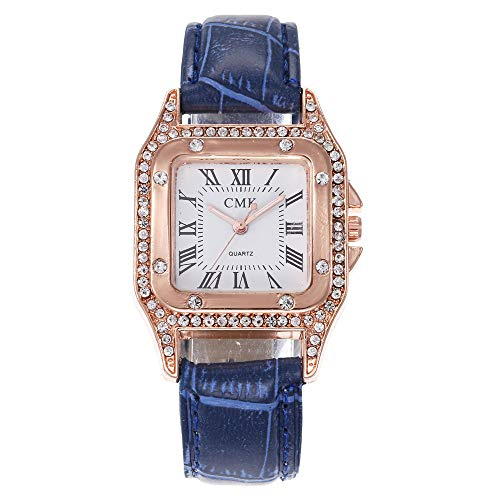 Leey Damen Armbanduhr mit Leder-Armband Diamant Kleines Zifferblatt Watch Uhren Armreif Damen-Armbanduhr Analog Quarz Armband Edelstahl Mode Uhr Wasserdicht Günstige Schöne Fashion Armbanduhr Frauen
