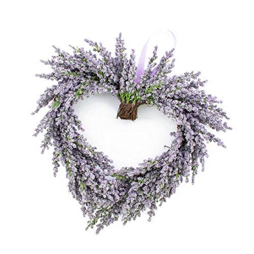 artplants Deko Lavendelherz, violett, Ø 30 cm - Künstlicher Kranz/Türkranz