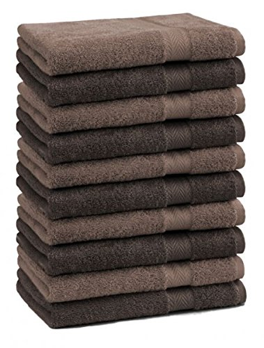Betz Lot de 10 serviettes débarbouillettes lavettes taille 30x30 cm en 100% coton Premium couleur marron noisette et maqrron foncé
