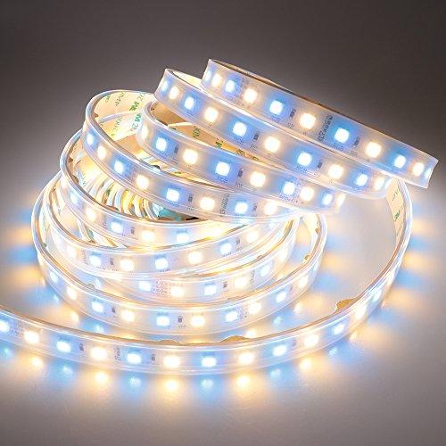 ledemai DC 24V 360leds/Bobina 5m rgb + Blanco Cálido (2800K-3000K) 5050SMD Impermeable Tira de RGBWW LED luces de silicona Sleeving IP67para bodas, vacaciones Outdoor–Tira de iluminación LED (RGBWW LED)
