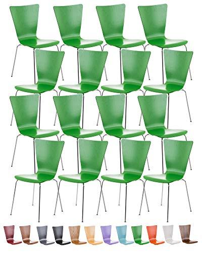 CLP Lot de 16 Chaises Empilables Aaron I Chaises Visiteur en Bois Dossier Siège Ergonomique et Confortable I Hauteur Assise 45 cm I Couleur: Vert