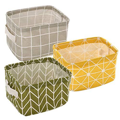 Local Makes A Comeback -Canasta de almacenamiento de tela plegable - canasta de almacenamiento de algodón y lino - gran capacidad.(amarillo + verde +gris)