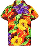 V.H.O. Funky Hawaiihemd, Kurzarm, Blume, Big Flower, orange, 5XL