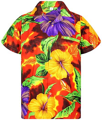 V.H.O. Funky Hawaiihemd, Kurzarm, Blume, Big Flower, orange, 3XL