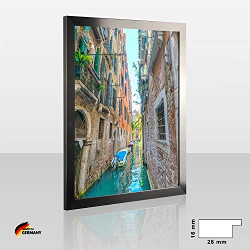 1a Bilderrahmen Orion Edelstahl Dekor 75 x 98 cm kantig Puzzle modern stabil eckig hochwertig preiswert mit klarem Kunstglas